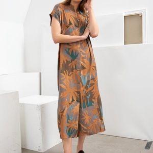 & Other Stories Tropical Print Midi Shirt Dress